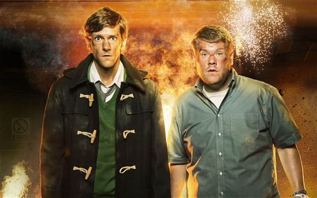 Programme Name: The Wrong Mans - TX: n/a - Episode: Episode 1 (No. Episode 1) - Embargoed for publication until: 01/09/2013 - Picture Shows:  Sam Pinkett (MATHEW BAYNTON), Phil Bourne (JAMES CORDEN) - (C) BBC - Photographer: Des Willie